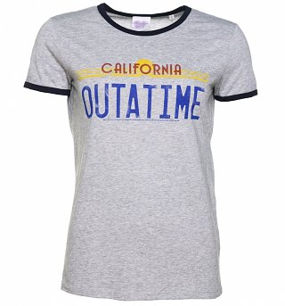 Women's Back to the Future Outatime Grey and Navy Ringer T-Shirt