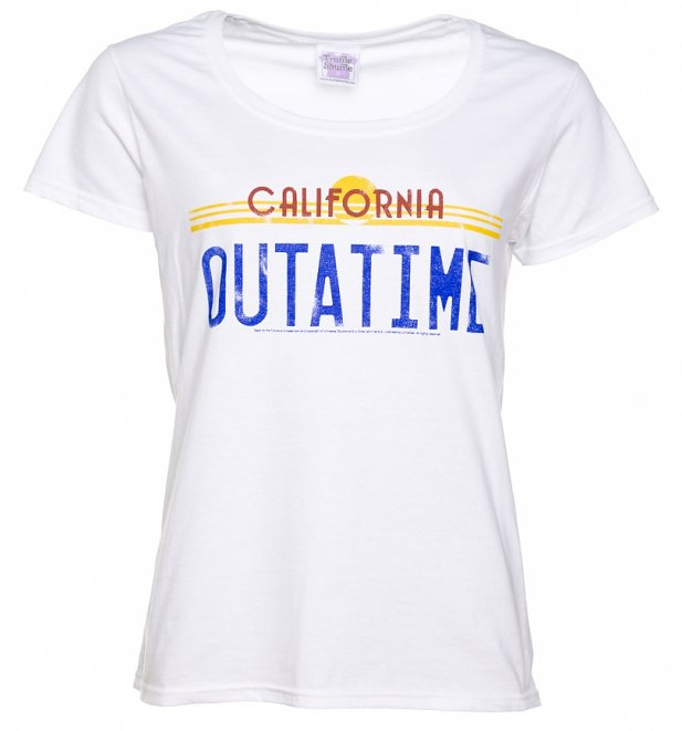 Women's Back to the Future Outatime White Scoop Neck T-Shirt