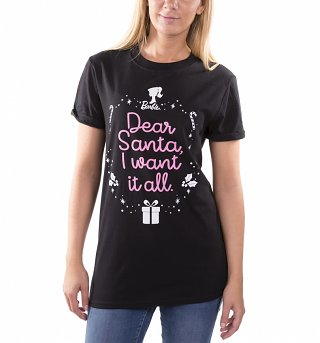 Women's Barbie Dear Santa I Want It All Black Boyfriend T-Shirt
