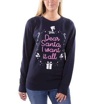 Women's Barbie Dear Santa I Want It All Navy Jumper