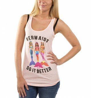 Women's Barbie Mermaids Do It Better Heather Pink Vest