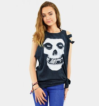 Women's Black Acid Was Misfits Skull Slash Shoulder T-Shirt from Ultrakult