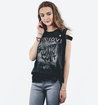 Women's Black Acid Wash Bon Jovi Slippery When Wet Slash Shoulder T-Shirt from Ultrakult