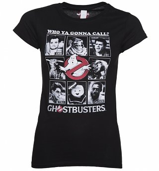 Women's Black Classic Photo Cards Ghostbusters T-Shirt