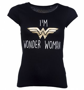 Women's Black DC Comics I'm Wonder Woman Slogan T-Shirt