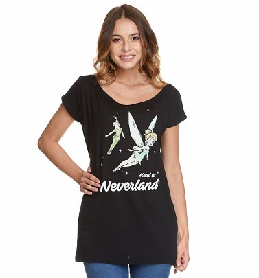 Women's Black Disney Peter Pan Tinker Bell Head To Neverland Slouch T-Shirt