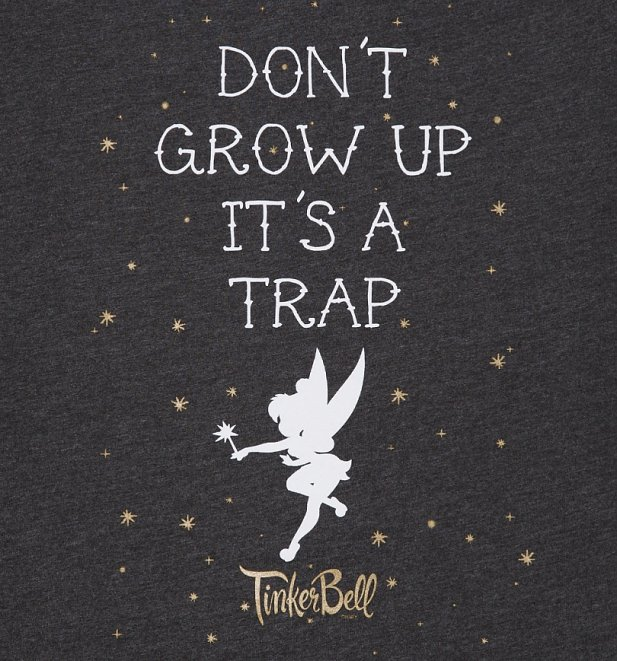 Women's Charcoal Marl Disney Tinker Bell Don't Grow Up Slouch T-Shirt