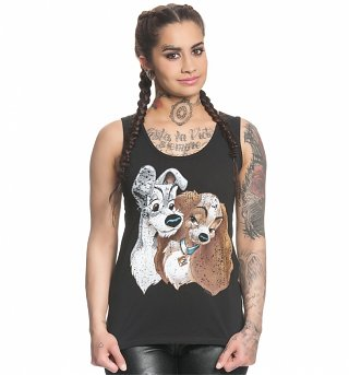 Women's Black Disney Vintage Distressed Lady And The Tramp Vest