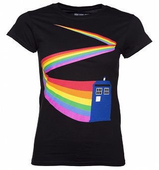 Women's Black Doctor Who TARDIS Rainbow T-Shirt