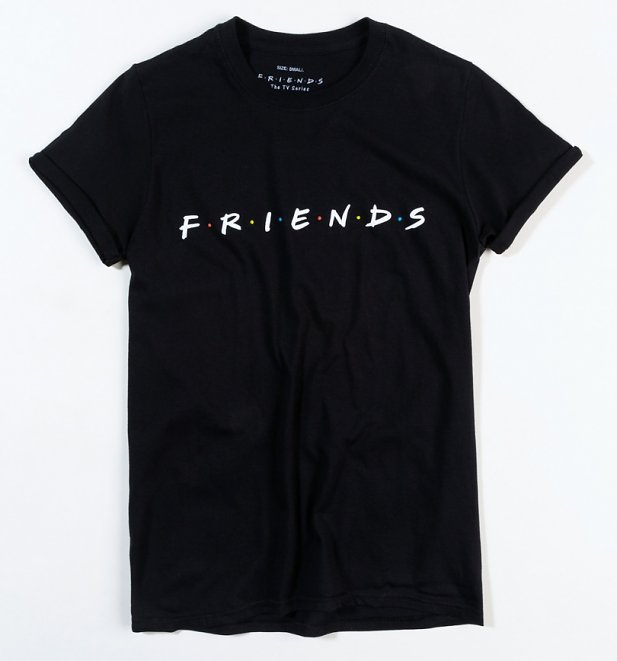 Women's Black Friends Logo Oversized T-Shirt