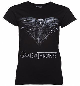 Women's Black Game Of Thrones Three Eye Raven T-Shirt