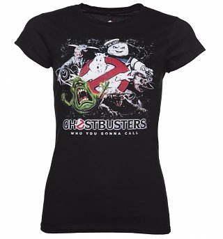 Women's Black Ghosts And Monsters Ghostbusters T-Shirt