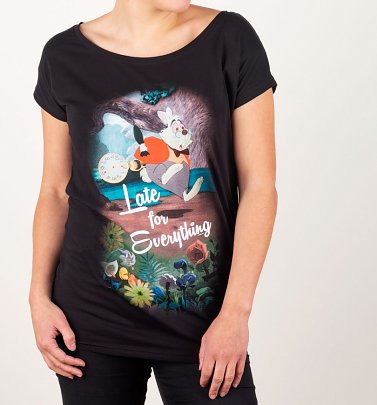 Women's Black Late For Everything Alice In Wonderland Slouch T-Shirt