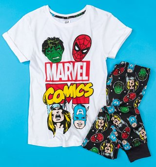 Women's Black Marvel Comics Pyjamas