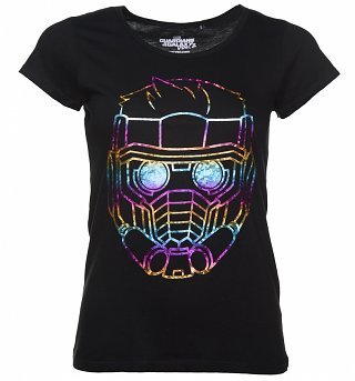 Women's Black Metallic Rainbow Star Lord Guardians Of The Galaxy T-Shirt