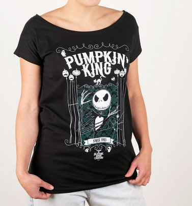 Women's Black Pumpkin King Nightmare Before Christmas Slouch T-Shirt