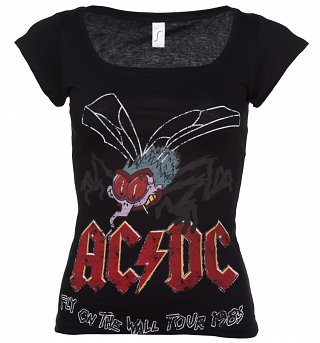 Women's Black Scoop Neck AC/DC Fly On The Wall Tour 85 T-Shirt