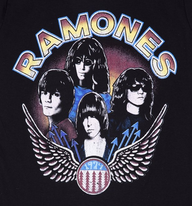Women's Black Vintage Wings Ramones T-Shirt