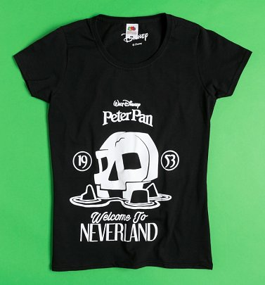 Women's Black Welcome To Neverland Peter Pan Fitted T-Shirt