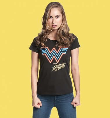 Women's Black Wonder Woman 1984 Logo Fitted T-Shirt