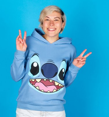 Women's Blue Disney Lilo And Stitch Face Hoodie