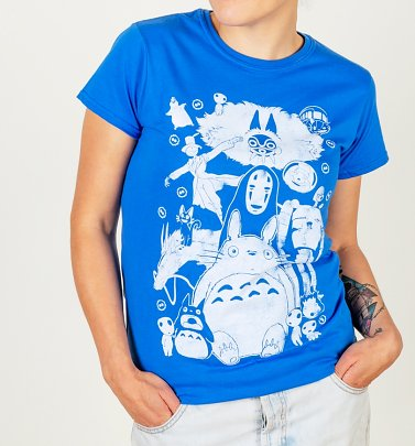 Women's Blue Ghibli Gang Fitted T-Shirt