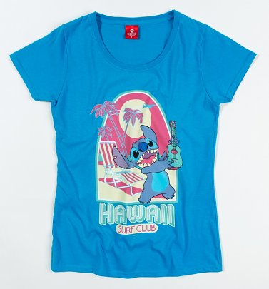 Women's Blue Lilo And Stitch Hawaii Surf Club T-Shirt