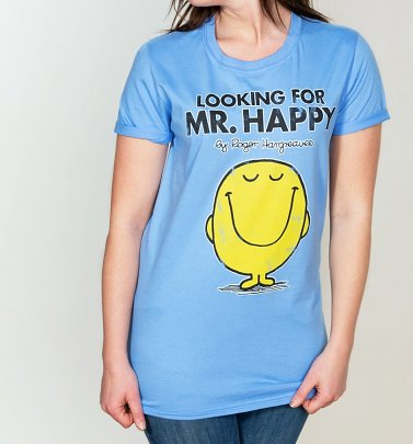 Women's Blue Looking For Mr Happy Mr Men Boyfriend T-Shirt