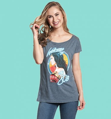 Women's Blue Marl Wonder Woman 1984 Welcome To The 80s Loose T-Shirt