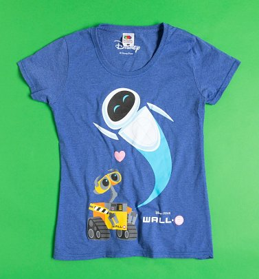 Women's Blue Marl Wall-E and Eve Fitted T-Shirt