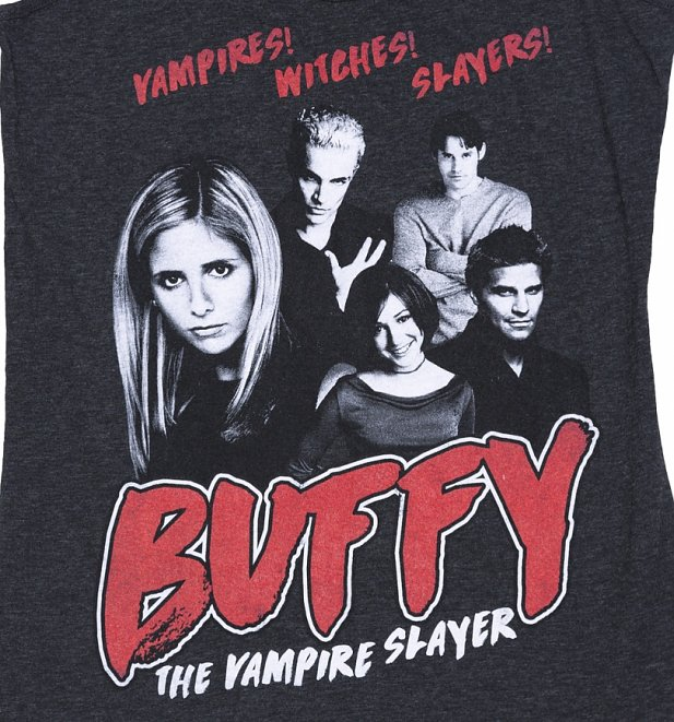 Women's Buffy the Vampire Slayer Gang Dark Heather Grey Vest