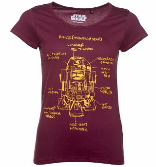 Women's Burgundy Star Wars R2-D2 Blueprint T-Shirt