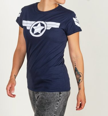 Women's Captain America Super Soldier Navy Fitted T-Shirt