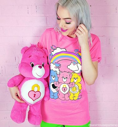 Women's Care Bears Hearts and Tea Cups Rolled Sleeve Boyfriend T-Shirt