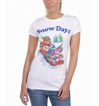 Women's Care Bears Snow Days White T-Shirt