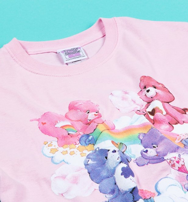 Women's Pink Care Bears Sweet Treats Clouds Rolled Sleeve Boyfriend T-Shirt