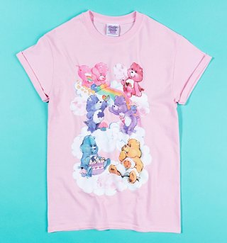 Women's Care Bears Sweet Treats Clouds Light Pink Boyfriend Fit Rolled Sleeve T-Shirt