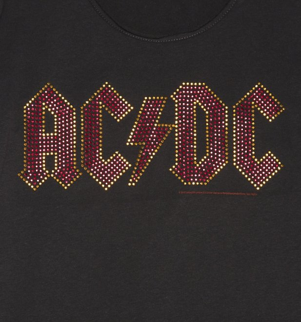 Women's Charcoal AC/DC Red Diamante T-Shirt from Amplified