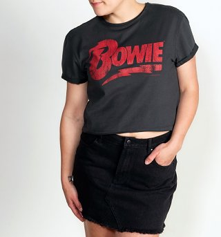 Women's Charcoal Bowie Logo Cropped T-Shirt from Amplified
