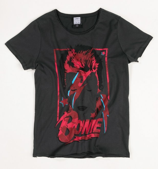 Women's Charcoal David Bowie Distressed Aladdin Sane T-Shirt from Amplified