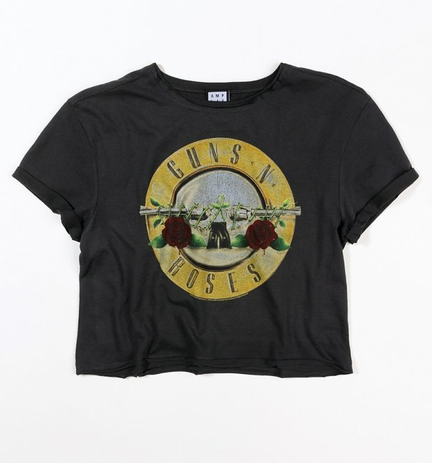 Women's Charcoal Guns N Roses Bullet Logo Cropped T-Shirt from Amplified