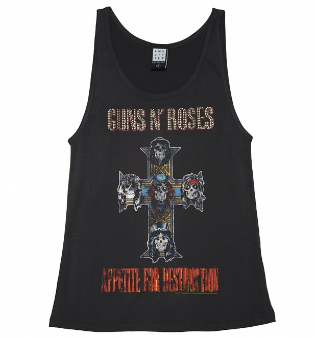 Women's Charcoal Guns N' Roses Diamante Vest from Amplified