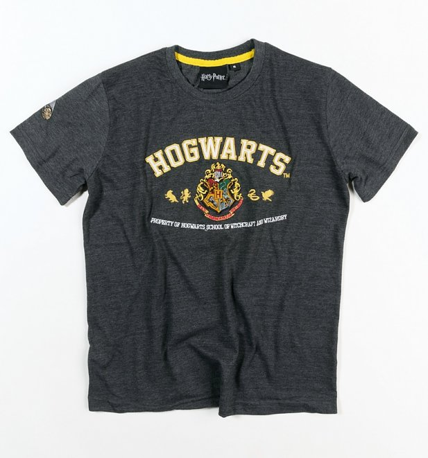Women's Charcoal Harry Potter Hogwarts Applique T-Shirt