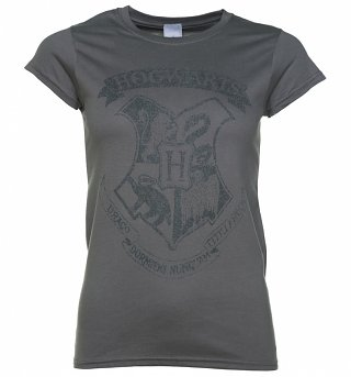 Women's Charcoal Harry Potter Hogwarts Distressed Crest T-Shirt