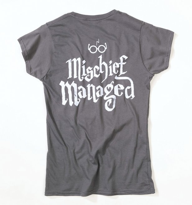 Women's Charcoal Harry Potter I Solemnly Swear Mischief Managed Fitted T-Shirt
