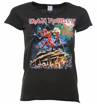 Women's Charcoal Iron Maiden Run To The Hills T-Shirt from Amplified