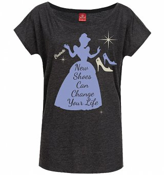 Women's Charcoal Marl Disney Cinderella New Shoes Slouch T-Shirt