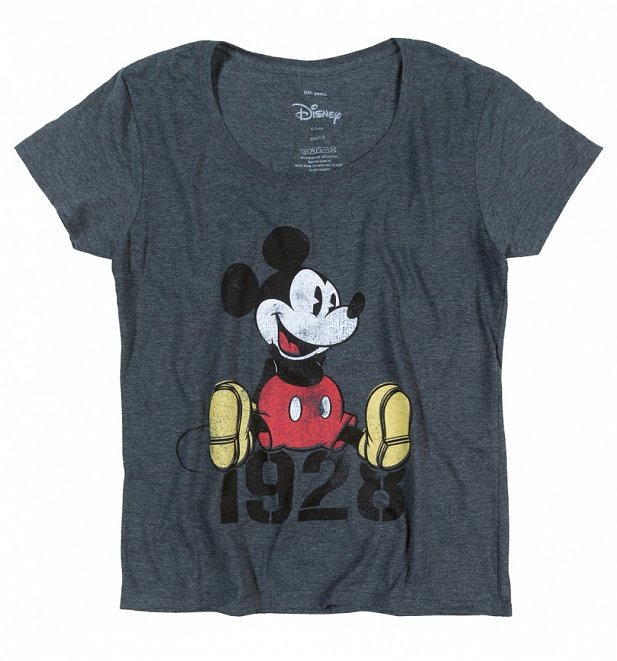 Women's Charcoal Marl Disney Mickey Mouse 1928 Slouchy T-Shirt