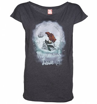 Women's Charcoal Marl Little Mermaid Disney Mermaid Love Slouch T-Shirt