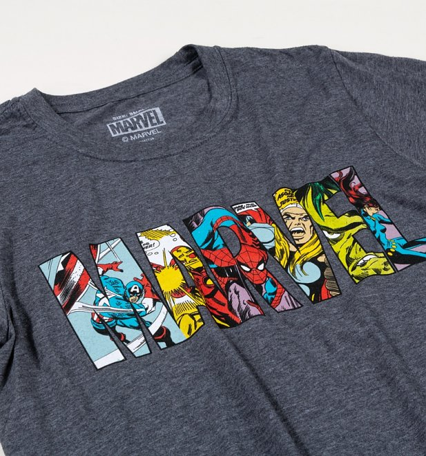 Women's Charcoal Marl Marvel Comic Strip Logo Boyfriend T-Shirt
